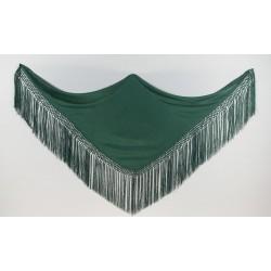 Mantoncillo liso triangular verde en seda y flecado a mano.